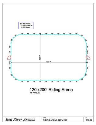 120' x 200' Riding Arena 16FT PANELS