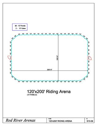 120' x 200' Riding Arena 10FT PANELS