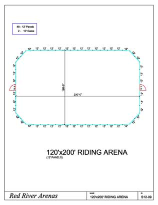 120' x 200' Riding Arena 12FT PANELS