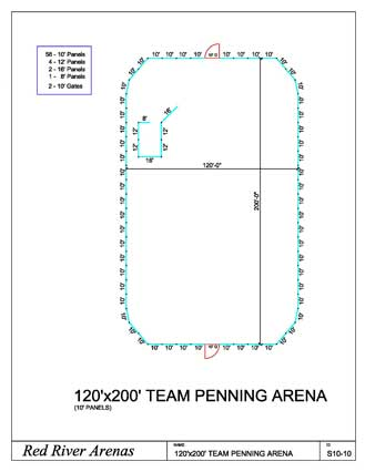 120' x 200' Team Penning Arena 10FT PANELS